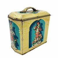 Vtg MURRAY ALLEN Regal Crown Gold Metal Tin Victorian Swiss Girl Boy England