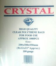 "Crystal 1000x LDPE Poly Bags Polythene 8x12x22"" (100 Gauges)"