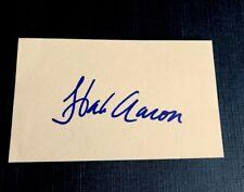 Hank Aaron Signed Index Card - Atlanta Braves —