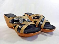 "ONEX Sandal Wedges Size 6.5 M BLACK Buckle Studs Woven Hemp 3"" Cork Heel"