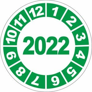 UVV Jahresplakette Prüfplaketten 2022 grün 40mm 10 bis 250 Stück Wartung 11158