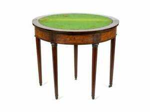 A Louis XVI Style Demilune Mahogany Marquetry Flip Top Game