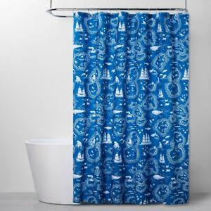 Pillowfort Kids Bath Shower Curtain Treasure Map Beach Blue New 72 x 72