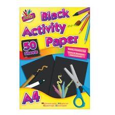 A4 Schwarz Gefärbt Papier Kinder Kunst Handwerk Zeichnung Pad 50 Blätter