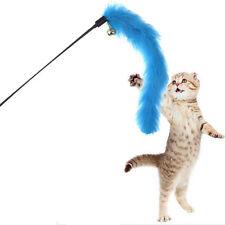Cute Kitten Play Length Interactive Cat Teaser Wand Pet Feather w Bell Fun Toy