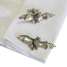 High Quality Cufflinks Bat Halloween Silver Pewter Bats Handmade in England