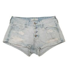 Abercrombie & Fitch Booty Shorts Women Sz 2 Blue Button Fly Mid Rise Light Wash