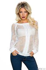 Sexy Strickpullover Strick Shirt Pulli Netz Pullover Weiß 34 36 38 S M