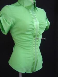 New BEBE Green Safari Silk Zipped Carrer Top Shirt sz S Mothers Day Gift
