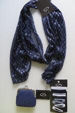 Serpaco 3 S HAARSCHMUCK blau weiß: Spange HAARGUMMI Geld-Börse Etui SCHAL, 16 T