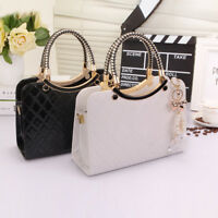 Ladies Black Leather Handbag New Tote Designer Style Celebrity Shoulder Bag UK