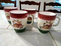 Lot of Four The Cellar Christmas LOG CABIN Reindeer Accent Mugs 4 1/4 inch