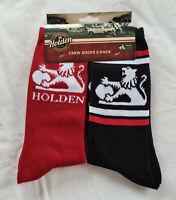 Holden Vintage Retro Logo Mens Red / Black Crew Socks 2 Pack One Size New