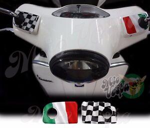 Italian flag W Handlebar pump covers overlay 3D Decals sticker Vespa GTs 250 300