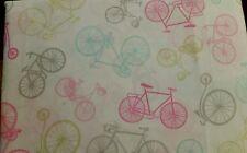 NEW FULL SIZE 4PC SHEET SET CYNTHIA ROWLEY BICYCLES PINK GRAY LIME AQUA