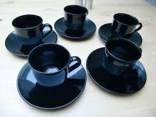 Espresso Service, schwarz, Arcoroc France, 5 Personen Tasse & Untertasse