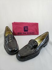 Vintage Bruno Magli Burgundy Crocodile Skin Loafers Flats Shoes Women's  7 B