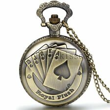 Men's Vintage Royal Flush Playing Poker Cards Quartz Pocket Watch Chain Necklace