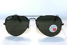 RAY-BAN 3025 002/58 Black / Green Polarized Aviator New Sunglasses 58mm RB3025