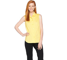 Linea By Louis Dell'Olio Wing Collar Sleeveless Blouse Size Plus 18 Daffodil