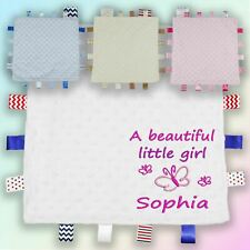 Beautiful Girl Butterfly Embroidered Baby Dimple Taggy Gift Blanket Personalised