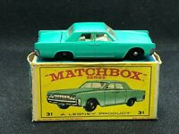 VINTAGE MATCHBOX LESNEY No.31c LINCOLN CONTINENTAL IN ORIGINAL BOX 1964 G