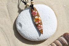 Wooden Retro Flower Surfboard Necklace Surfer Surf Lucky Talisman / N243c