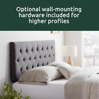 Frame Platform Headboard Upholstered Diamond Tufted Bed Charcoal King/Cal King