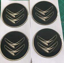 CITREON ALLOY WHEEL CENTRE CAP STICKERS DOMED X4 DS3 4 DS5 BLK C 60mm All Sizes