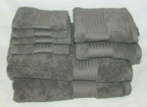 Ralph Lauren Greenwich Pebble Eight Piece Bathroom Towel Set Solid Med. Grey New
