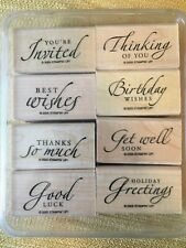 2005 Stampin' Up! Set of 8 Mounted Rubber Stamps Sincere Salutations greetings