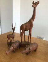 VINTAGE MID CENTURY JOBLOT HAND CARVED WOODEN ANIMALS GIRAFFE STAG RHINOS X4