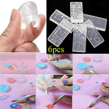 6pcs Fashion 3D Acrylic Silicone Mold Mould for Nail Art DIY Decor Design hot
