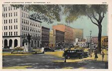 VTG POSTCARD DOWNTOWN MONUMENT WASHINGTON STREET CARS WATERTOWN NEW YORK NY