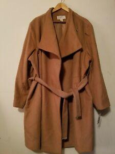 MICHAEL Michael Kors Women Shawl Collar Asymmetric  Wool Blend Coat  Camel sz 3x