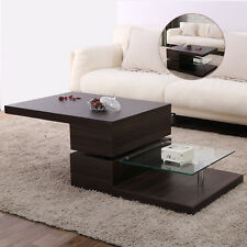 High Gloss Walnut Rotating Tabletop Wood Coffee Table With Tempered Glass Shelf