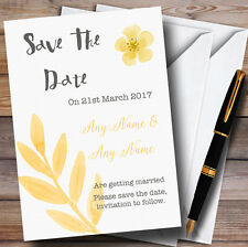 Watercolour Subtle Golden Yellow Personalised Wedding Save The Date Cards