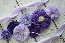 Flower Sash, Shades of purple sash #2, flower Belt, maternity sash