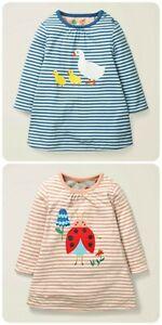 Girls Baby Boden REVERSIBLE Long Sleeve Duck Ladybird Print Dress 0-3 to 3-4 Yrs