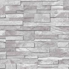 3D Vinyl Split Face Tile Stone Brick Effect Wallpaper Washable Vinyl Grey