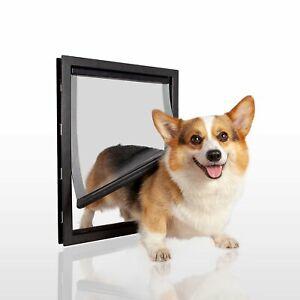 Pet Doors Lockable For XL Large Medium Cat Dog Frame Bendable Soft Flaps Black
