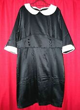 Black white liquid satin dress 4xl TV  transvestite matron sissy 50 chest