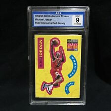 MICHAEL JORDAN 1995 96 UD COLLECTORS CHOICE STICK-UMS RED JSY GRADED MINT AGS 9