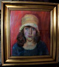 Altes Pastell, junge Frau, sign. 55x50