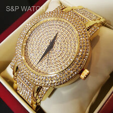 Men's Luxury Techno Pave Bling Gold finished Simulated Diamond Bracelet Watch