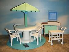 LITTLE TIKES MY SIZE DOLLHOUSE PATIO SET WITH SERVING CART & GRILL