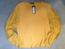 M&S OCHRE TOP WITH STRETCH BODY AND LONG ROUCHED PLEATED SLEEVES - SIZE 16 BNWT