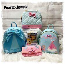 Loungefly Disney Princess Cinderella Backpack Pearl Crossbody Pink Dress Wallet