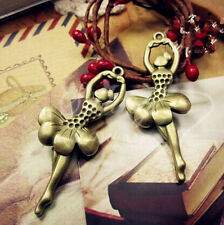 PJ216 6pcs Antique Bronze Ballet girl Pendant Bead Charms Accessories wholesale