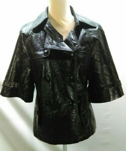 *NEW* Black Faux Patent Leather Short Sleeve Jacket Size S
